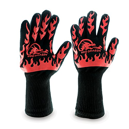 Extreme Heat Resistant Gloves, BBQ Gloves, Hot Oven Mitts, Charcoal Grill, Smoking, Barbecue Gloves for Grilling Meat Gloves, Insulated, Silicone Non-Slip Grips, Fits Any Hand - BBQ Dragon by BBQ Dragon