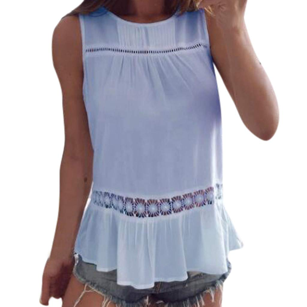 Nufelans Women Tank Tops Hollow Out Camisoles Summer O-Neck Floral Hem Sleeveless Shirt Solid Casual Blouse Light Blue