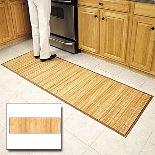(Goujxcy Bamboo Floor Mat, Soft Bamboo Rectangular Spa Mat Rug with Fabric Trim, Water Resistant, for Bathroom Vanity, Bathtub/Shower, Easy Clean, Environmentally Friendly)