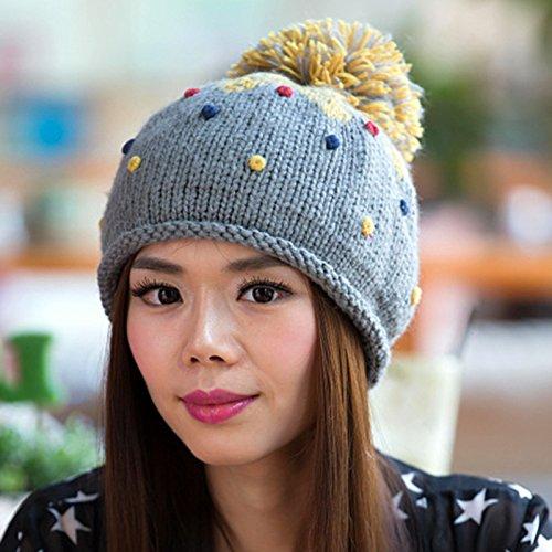 Frijol Sombrero Knit y de otoño del Bola Ola Encantadora Maozi Coreana Boina del Gran Color en de GREYBLUE White Invierno de x0qfO6aqw