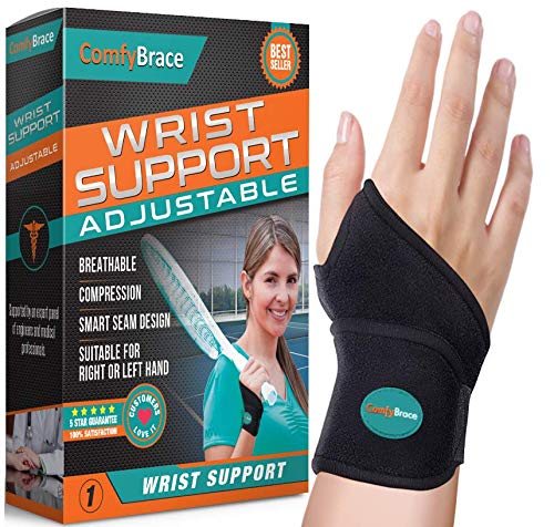 ComfyBrace-Premium Lined Wrist Support/Wrist Strap/Carpal Tunnel Wrist Brace/Arthritis Hand Support -Fits Both Hands-Adjustable Fitted
