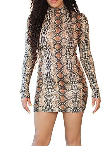 (VWIWV Women's Sexy Long Sleeve Snakeskin Print Bodycon Club Mini Dress Kahki)
