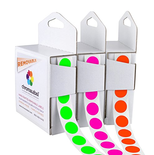 Dispenser Box Kit of Removable Labels for Medical Facilities | 3 Colors (Vivid Fluorescent) ()
