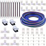 5050 RGB LED Strip Connector Kit- FSJEE 10mm 4pin LED Strip Connectors Includes 32.8FT Extension Cable L & T Shape Connectors,Gapless Connectors,Strip to Strip Jumpers, Strip to Wire Quick Connector
