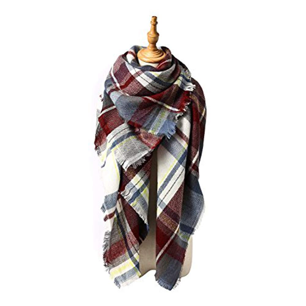 Spring Fever Cozy Plaid Long Winter Shawl Lattice Oversized Blanket Scarf Wrap A37 SCLS0114A41FSSF