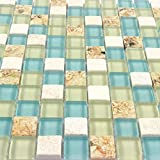 Wall Tiles White Stone Mosaic Tiles Glass Blue Conch Sea Shell Borders Kitchen Backsplash Materials Beach Style Tile (1PCS Small Sample 2.8x5.9 Inches)