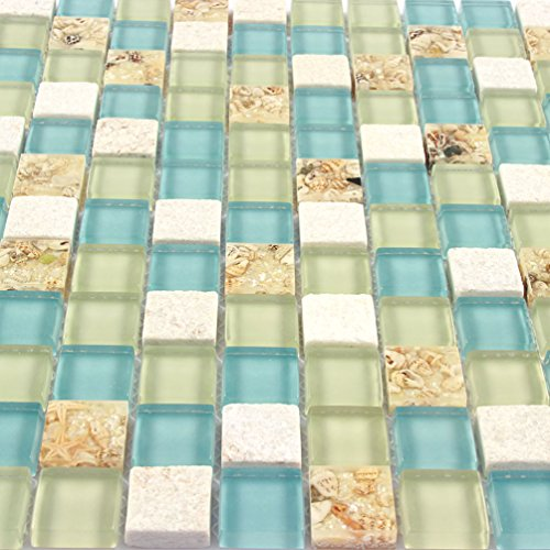 Beach Tile - Wall Tiles White Stone Mosaic Tiles Glass Blue Conch Sea Shell Borders Kitchen Backsplash Materials Beach Style Tile (1PCS Small Sample 2.8x5.9 Inches)