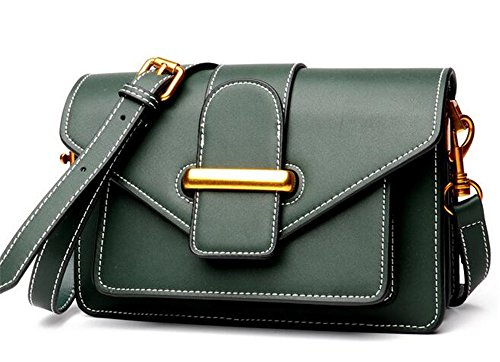 Square Ladies Leather Bag Solid Color Bag Soft Surface Leather Bag With Green Lid Spoon