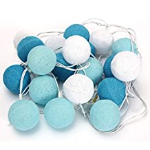 White and Blue 20 Cotton Ball Fairy String Lights Party Holiday Wedding Decor by 24/7 store