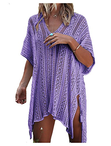Wander Agio Beach Swimsuit for Women Sleeve Coverups Bikini Cover Up Net Slit Light Purple,OneSize