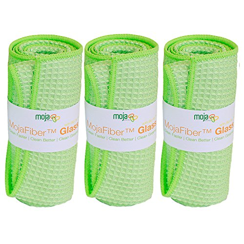 """MojaFiber Microfiber Towel Cleaner Ultra Thick Super Absorbent Waffle Weave Eco-Friendly Lint-Free Streak-Free -Quickly and Easily Cleans Glass Window Mirror Multi Surface 3-PC 16""""x16"""" Large Cloth"""