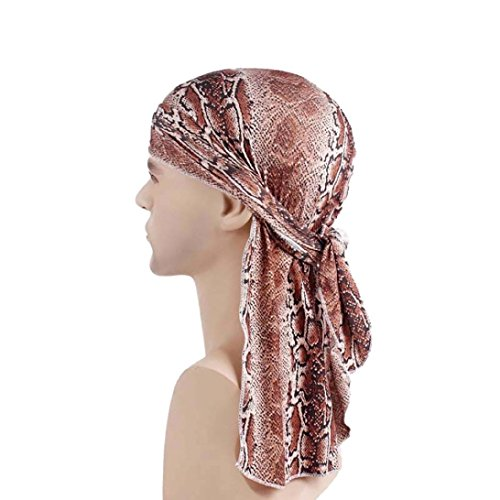 Hot Sale! Unisex Chemo Cap Africa Muslim Stretch Turban Long Tail Hat Floral Print Head Scarf Wrap (Free Size, Coffee)