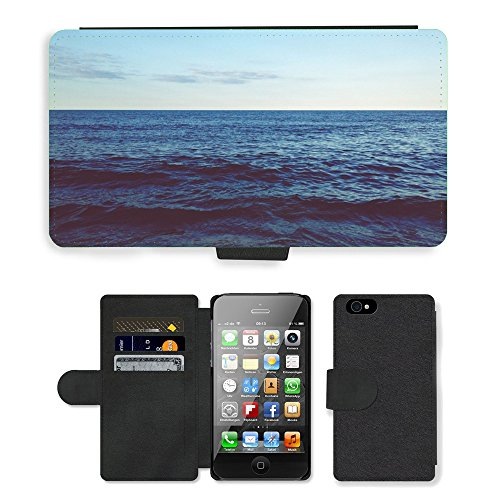 PU Leather Cover Custodia per // M00421573 Waves Ocean Sea Water Horizon Sky // Apple iPhone 4 4S 4G