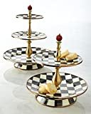 Courtly Check Three-Tier Sweet Stand, BLACK/WHITE