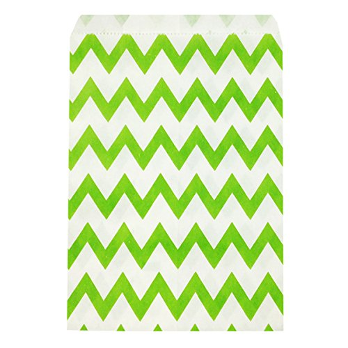 Wrapables Chevron Favor Bags, Lime Green (Set of 25)