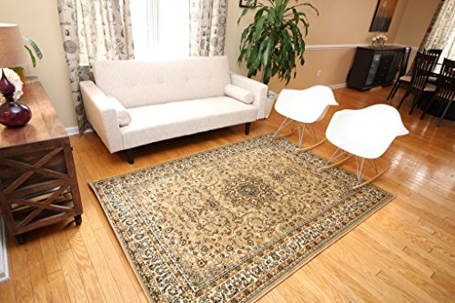 New City Beige Traditional Isfahan Wool Persian Area Rugs 5'2 x (Beige Persian Wool Rug)