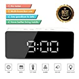 Locisne Digital Alarm Clock with LED Display Smart Snooze, Sleep Timer, Portable Modern Battery Operated Cell Phone USB Charge Port, Auto Dimmer, for Home, Office Bedroom, Dormitory (White)