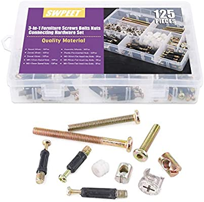 M6 4 In 1 Connector Side Fittings Bolt Nuts Furniture Locking Screws For Bed Cot