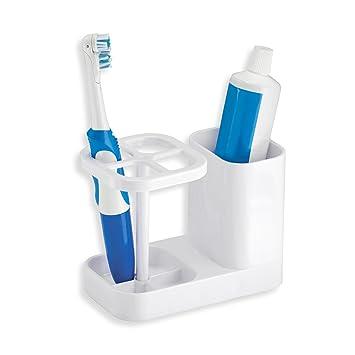mDesign - Organizador del cuarto de baño, Centro para el cuidado bucal y porta cepillo de dientes - Blanco: Amazon.es: Hogar