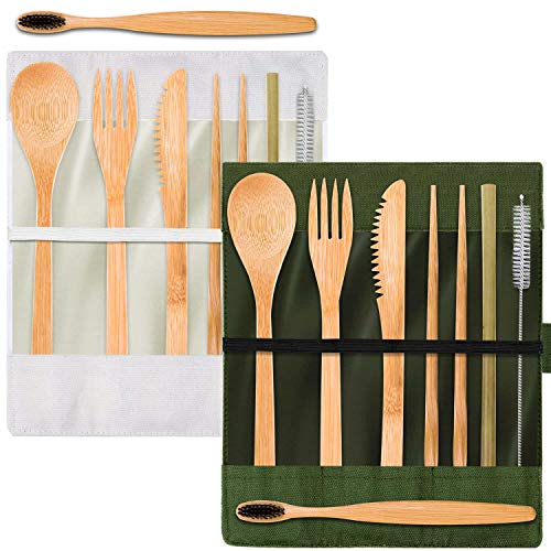 Cridoz 2 Sets Bamboo Utensils Cutlery Set Reusable Travel Utensils Eco-Friendly Wooden Utensils with Case Include Bamboo Spoon, Fork, Knife, Brush, Chopsticks