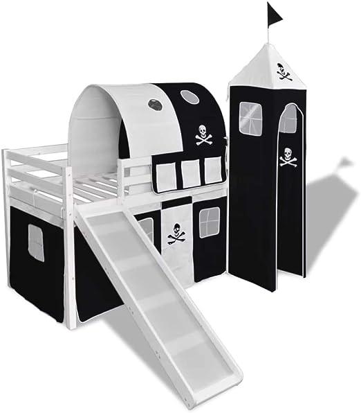 Xinglieu Cama A altillo para niños con Tobogán y Escalera de Madera Negro y Blanco Cama bebé Cuna Design: Amazon.es: Hogar