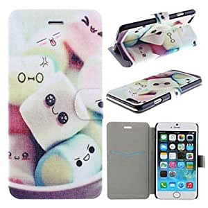 WQQ Lovely Cartoon Marshmallow Pattern PU Leather Full Body Cover with Card Slot for iPhone 6
