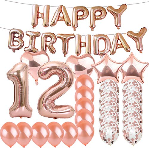 Sweet 12th Birthday Decorations Party Supplies,Rose Gold Number 12 Balloons,12th Foil Mylar Balloons Latex Balloon Decoration,Great 12th Birthday Gifts for Girls,Women,Men,Photo Props (Birthday Party For 12 Yr Old Girl)