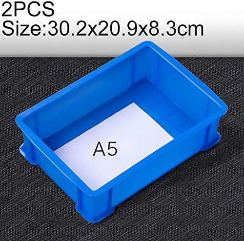 HZG 2 PCS太い多機能素材ボックス フラットプラスチック部品ボックスツールボックス、サイズ:30.2センチメートルX 20.9センチメートルX 8.3センチメートル(ブルー) 職人スペシャルパッケージ (Color : Blue)