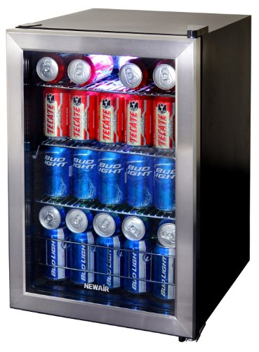 NewAir Beverage Cooler and Refrigerator, Small Mini Fridge with Glass Door, Perfect for Soda Beer or Wine, 90-Can Capacity, (Beer Wine Refrigerators)