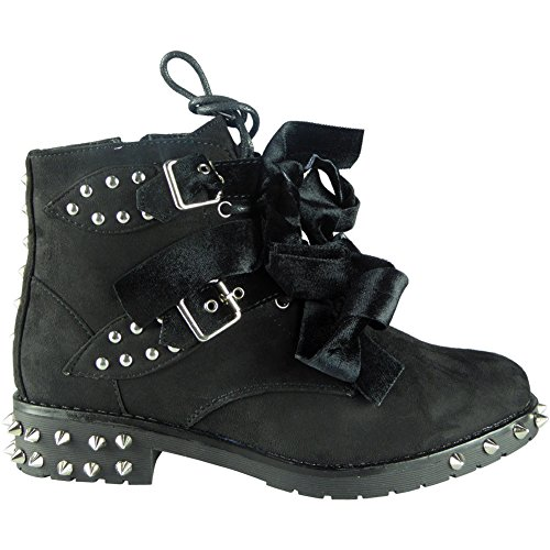 Schnalle Boots Nieten Army mit Spikes 8 Schwarz 3 Damen Combat Größe und XwI0nq