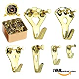 pictures hangers - Picture Hangers, Picture Hanging Kit, 168 Pieces Picture Frame Hangers for Heavy Duty Picture Frame with Wall Mounting Nails, Tin Box Included (Golden)