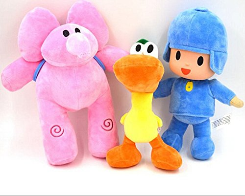 "Catchvogue 3pcs Plush 11"" Pocoyo,Pato,Elly Cartoon Stuffed Plush Toys"