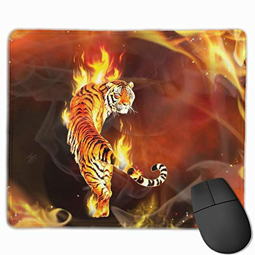 Customized Design Rectangle Non-Slip Rubber Gaming Mousepad (Cool Tiger in Flame) -