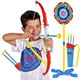 Toy Bow and Arrow for Kids - Practice Toy Archery Set - Target Stand, Quiver, Bow and 3 Arrows - Safe and Durable - Fun for Boys and Girls - Ages 8 and Up