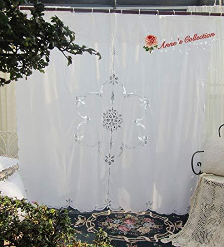 FidgetFidget Beautiful Battenburg Lace Shower Curtain A~White~Cotton~72