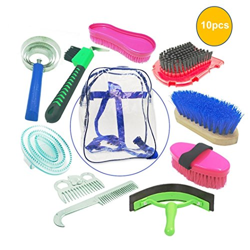 Portable Horse Cleaning Grooming Kit 10 Pieces with Brush and Hoof Pick Set with Backpack Style Carry Case for Horse Lovers and Children's (Random Color)