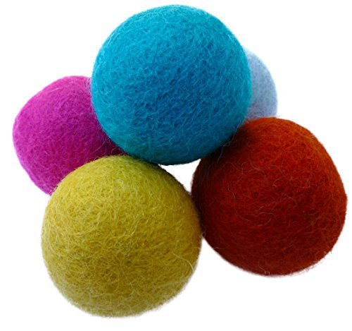 Earthtone Solutions Set of 5 Wool Felt Ball Toys for Cats and Kittens, Adorable Colorful Soft Quiet 4cm Felted Fabric Balls,...