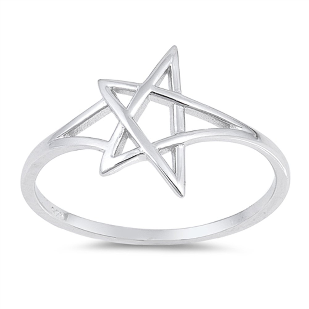 Pentagram Star Ring New .925 Sterling Silver Criss Cross Knot Band Sizes 4-10 Sac Silver