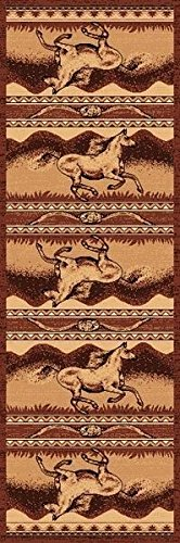 2X7 Runner Country Theme Horses Running Brown Tan Rug by Persian Rugs