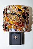 Handmade Lifetime LED fused glass nightlight in Earth mix