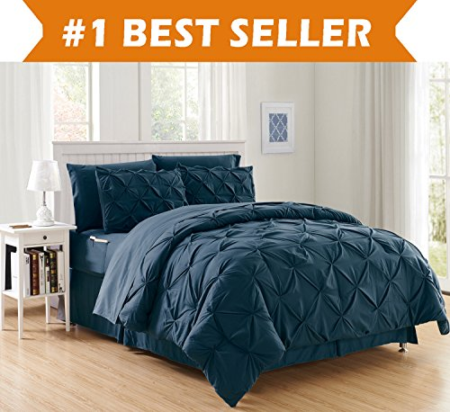 Luxury Best, Softest, Coziest 8-PIECE Bed-in-a-Bag Comforter Set on Amazon! fashionable ease and comfort - Silky tender total Set comes with Bed sheet Set with two times Sided storage area Pockets, King/Cal King, Navy Blue Black Friday & Cyber Monday 2018