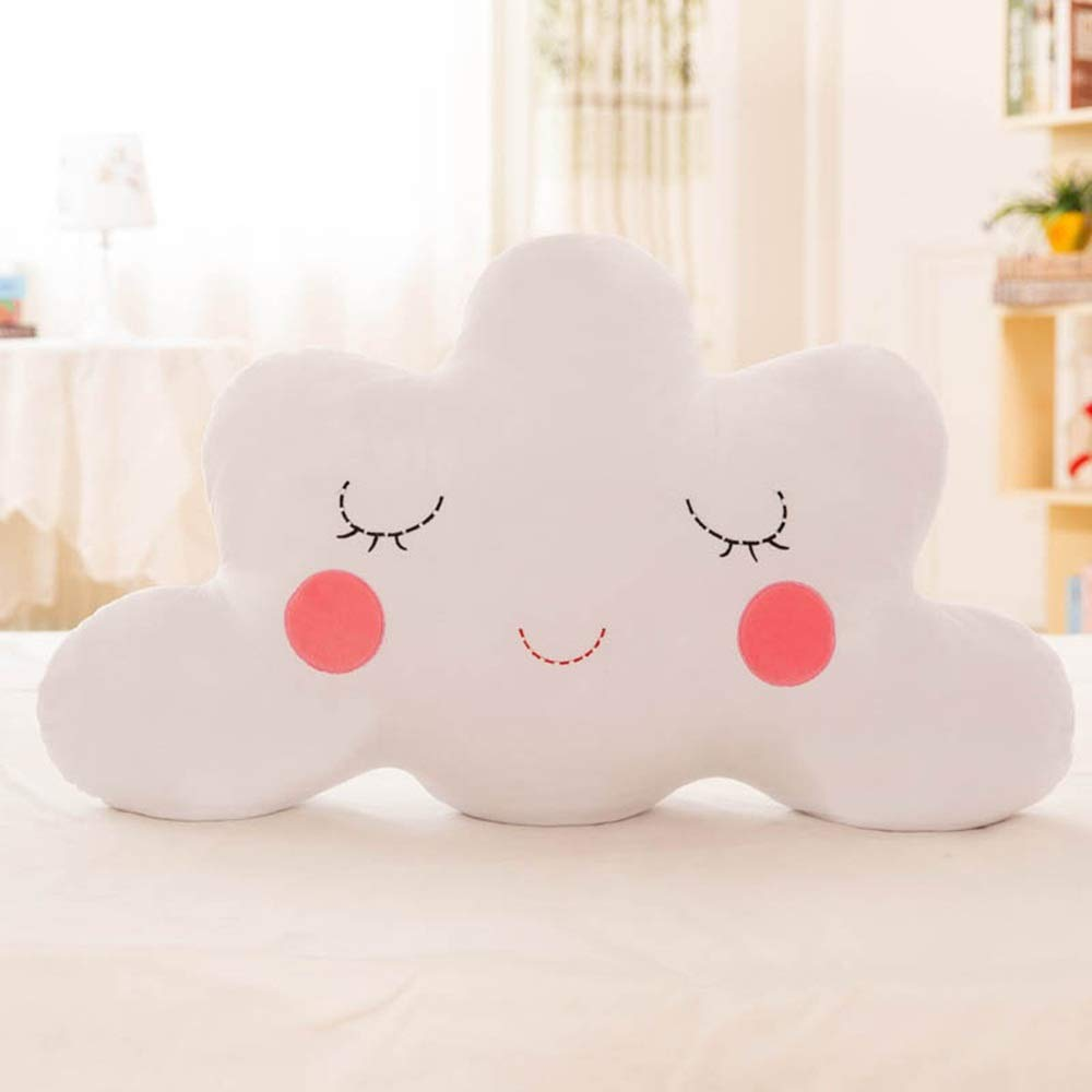 ESTELLEF Lovely Cloud Pillow Plush Cushion Cloud Shaped Pillow Stuffed Toy for Bedding Home Decoration (Color : White, Size : 90cm/35.4in) by ESTELLEF