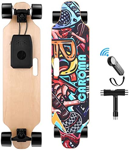 "Caroma 36"" Electric Skateboard with Wireless Remote Control, 700W Dual Motor E-Skateboard, 20 MPH Max Speed, 15 Miles Range, 8 Layer Maple Deck, 300lbs Max Load Longboard for Adults, Teens"
