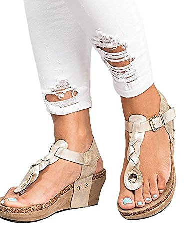 Wedge Braided Shoes Silver Women Platform Sandal Wedge Sandals T Strap Boho Heel 14xwBEq