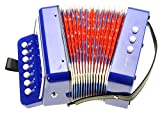 PowerTRC Children's Ten Keys Accordion Toy And Ensemble Percussion Musical Instrument For Early Childhood Teaching (Blue)
