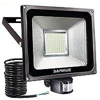 50W Projecteur LED détecteur de mouvement Eclairage , lumières d'inondation de SAMHUE de la haute luminosité , rendement élevé 4200lumen, remplacement équivalent de lumières halogènes de 200W, blanc lumière du jour, imperméable à l'eau, lumière de sécurité, projecteur de PIR [Classe énergétique A ++]