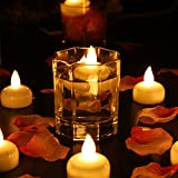 Flameless Floating Candles Tealights, Waterproof ''Floating on Water'' LED Tea Light Mini Candles, Battery Operated Wedding Garden Christmas Decorations Yellow Non-Flickering, Pack of 12