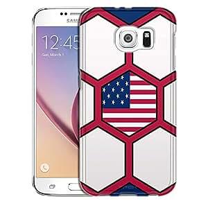 Samsung Galaxy S6 Case, Slim Snap On Cover Soccer Balls USA Flag Case