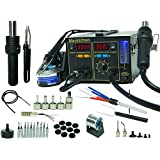 4-in-1 Soldering Station Digital Hot Air Rework Station Vacuum 968DB+ w/ 11 Tips Smoke Absorber