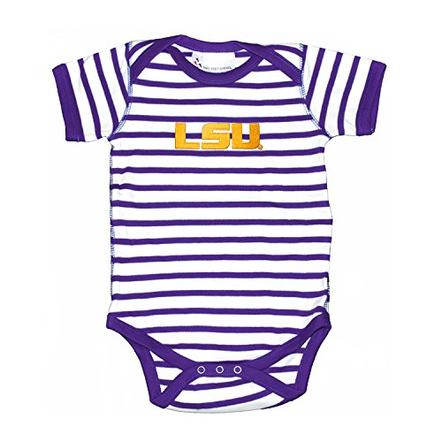 Shirt Striped Tigers Lsu (Two Feet Ahead LSU Tigers Striped NCAA College Newborn Infant Baby Creeper (0-3 Months))